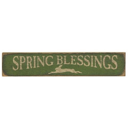 Green Distressed Spring Blessings Sign