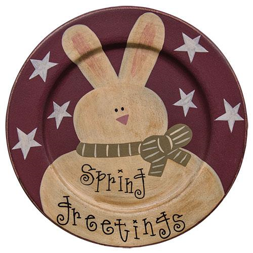 Spring Greetings Decorative Wooden Plate