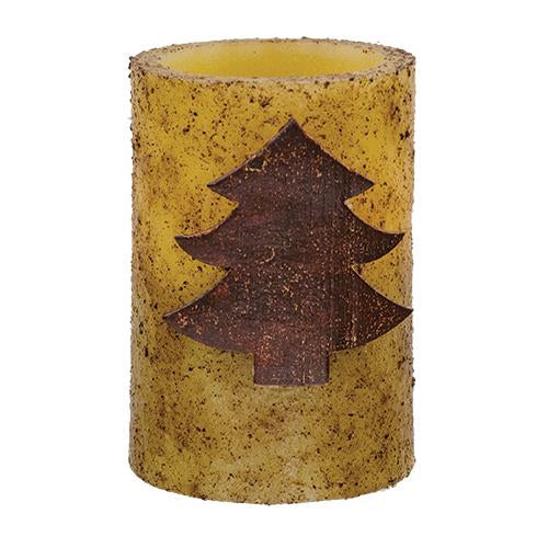 Wooden Tree Pillar Timer Candle