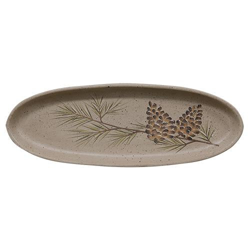 Speckled Wooden Tray with Pinecones