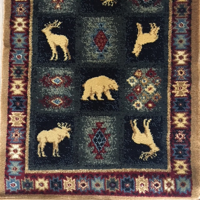 Western Frontier Rug with Deer Bears and Coyote