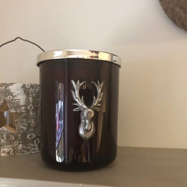 Cinnamon Clove Glass Candle with Reindeer Head Design