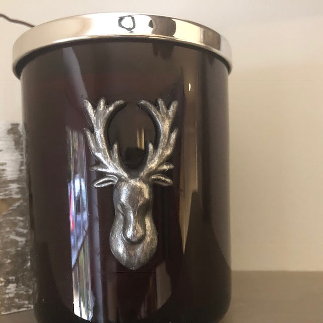Cinnamon Clove Glass Candle with Reindeer Head