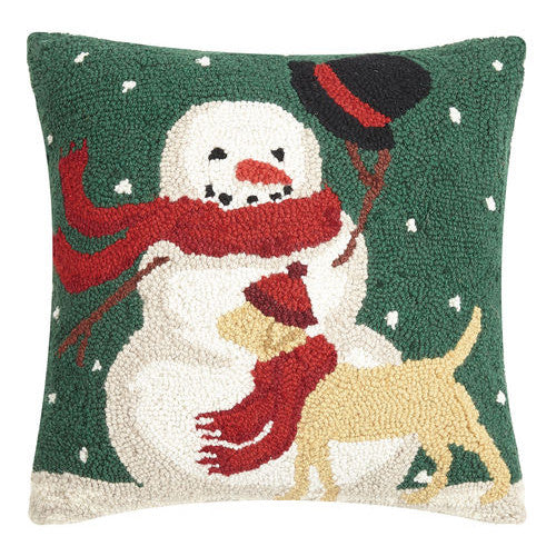 Snowman and Wintry Dog Hooked Cushion