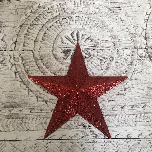 Barn Star Decoration with Red Glitter