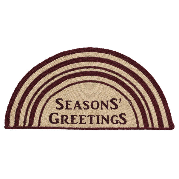 Seasons Greetings Jute Half Moon Rug