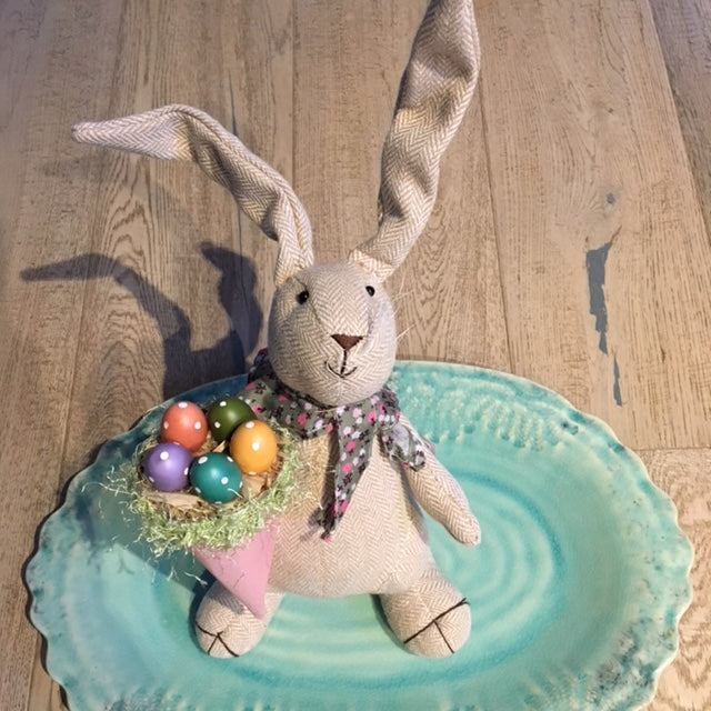 Herringbone Easter Bunny with Eggs Basket