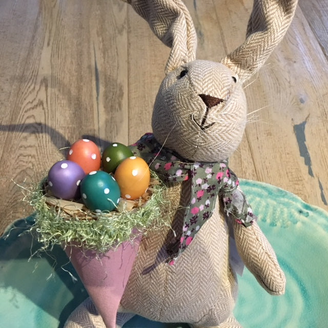 Easter Bunny with Pink Cone Basket of Eggs