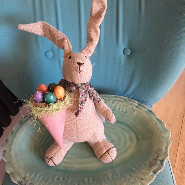 Easter Bunny with Pink Basket of Eggs