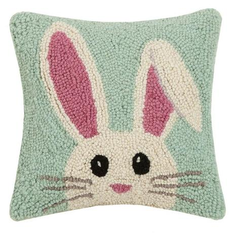 Easter Bunny Hooked Wool Cushion