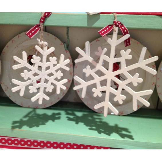 Whitewashed Wooden Snowflake Ornaments
