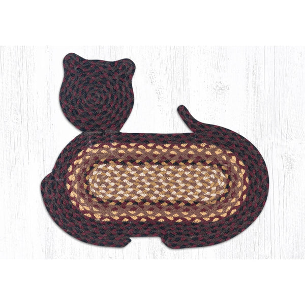 Burgundy and Black Cat Shaped Braided Rug
