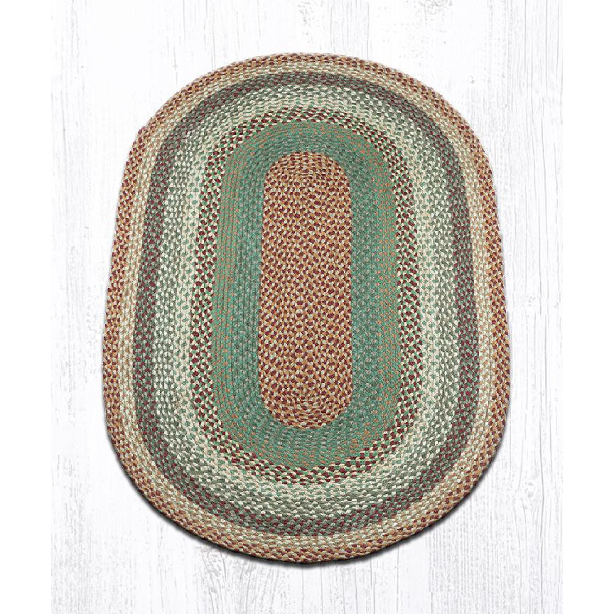 Buttermilk Cranberry Oval Braided Jute Rug