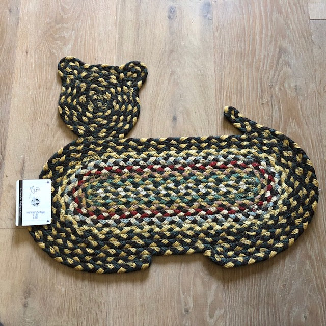 Green and Mustard Cat Braided Jute Rug
