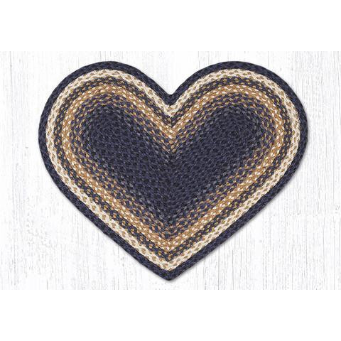 Denim Blue and Mustard Heart Shaped Rug