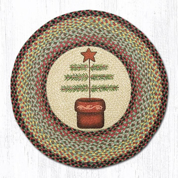 Feather Tree Round Braided Rug or Christmas Tree Skirt
