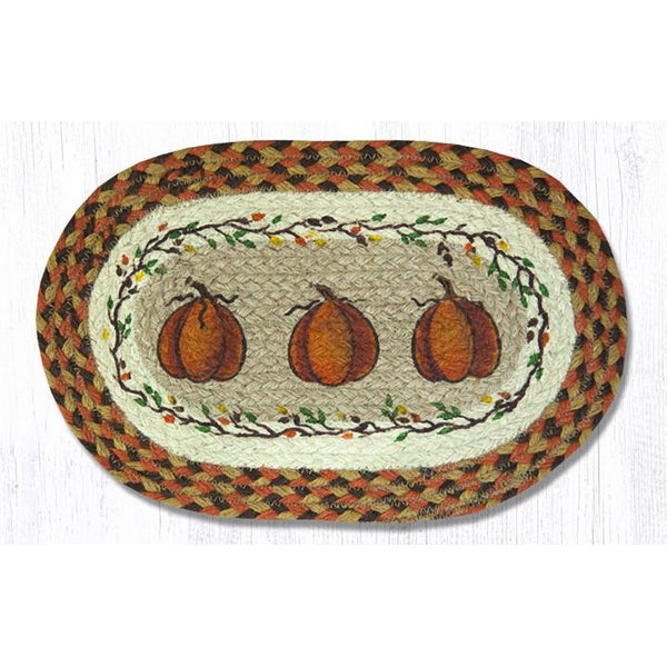 Harvest Pumpkin Jute Braided Table Mat
