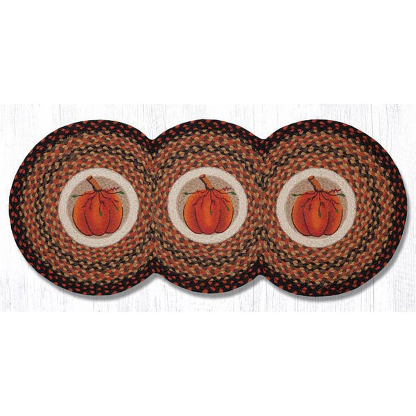 Harvest Pumpkin Tri Circle Braided Runner
