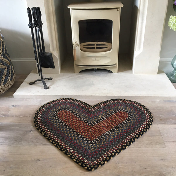 Blues, Grey and Red Heart Shaped Rug