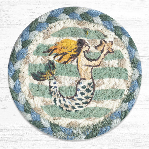 Blue and Sea Green Braided Jute Mermaid Coaster