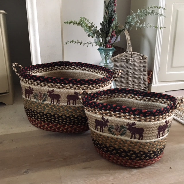 Log Cabin Style Braided Baskets with Moose and Pinecones