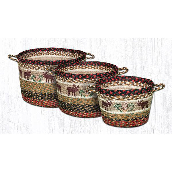 Moose and Pinecones Braided Storage Baskets
