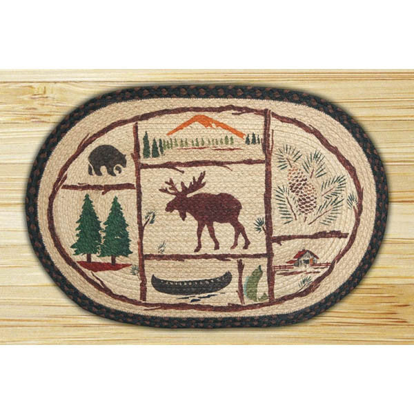 Rug with Moose, Bear, Canoe, Trees and Log Cabin Design