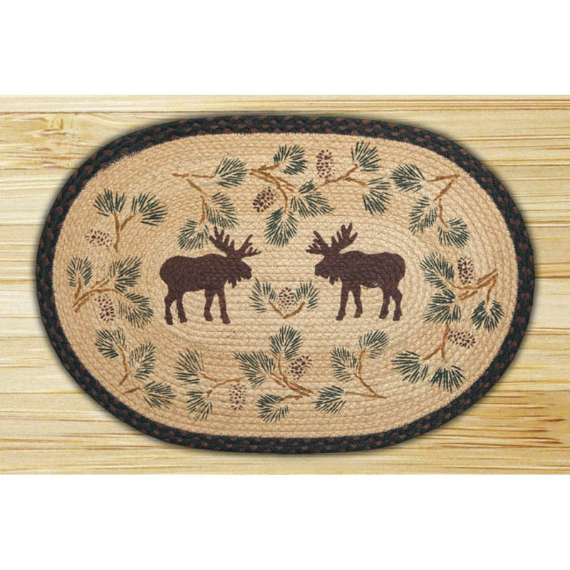 Moose and Pinecones Braided Rug