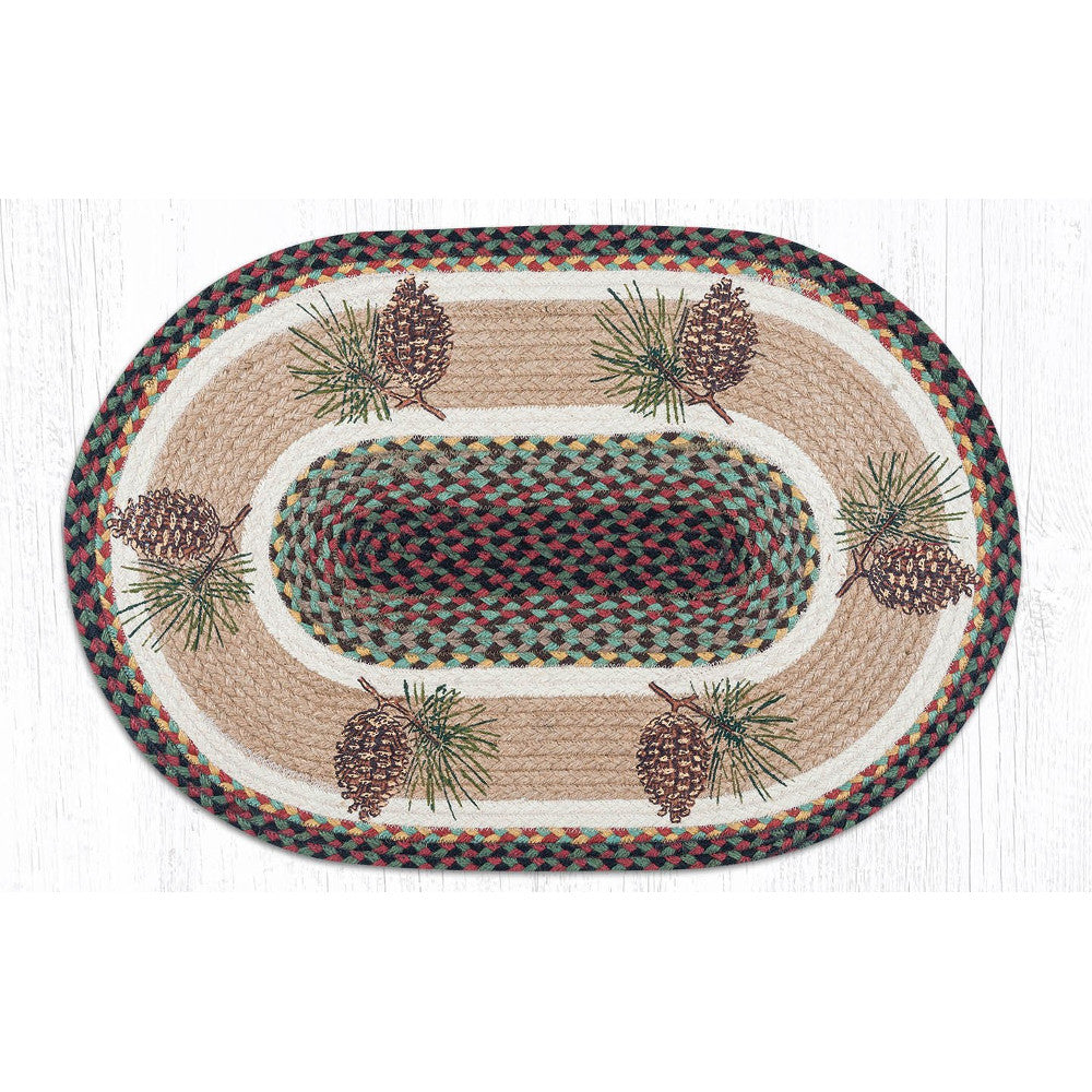 Eco Friendly Jute Braided Rug with Pinecones