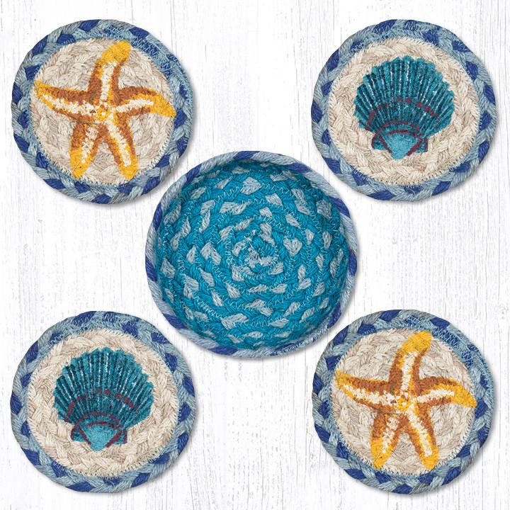 Braided Jute Coasters with Starfish and Scallops