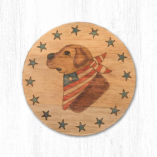 Golden Lab Teak Wood Coaster