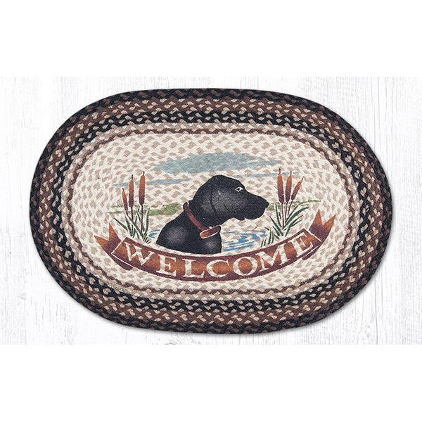 Black Lab Welcome Braided oval Rug