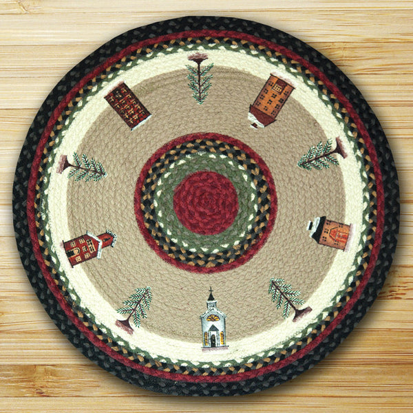 Round Wintry Village Rug or Christmas Tree Skirt