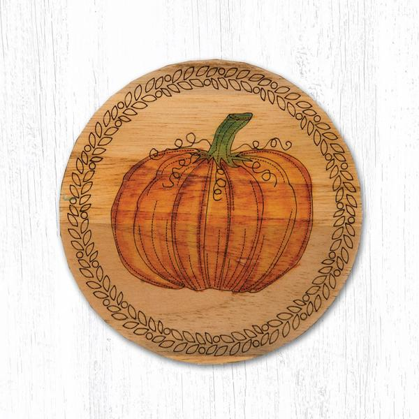 Teak Wood Harvest Pumpkin Coaster