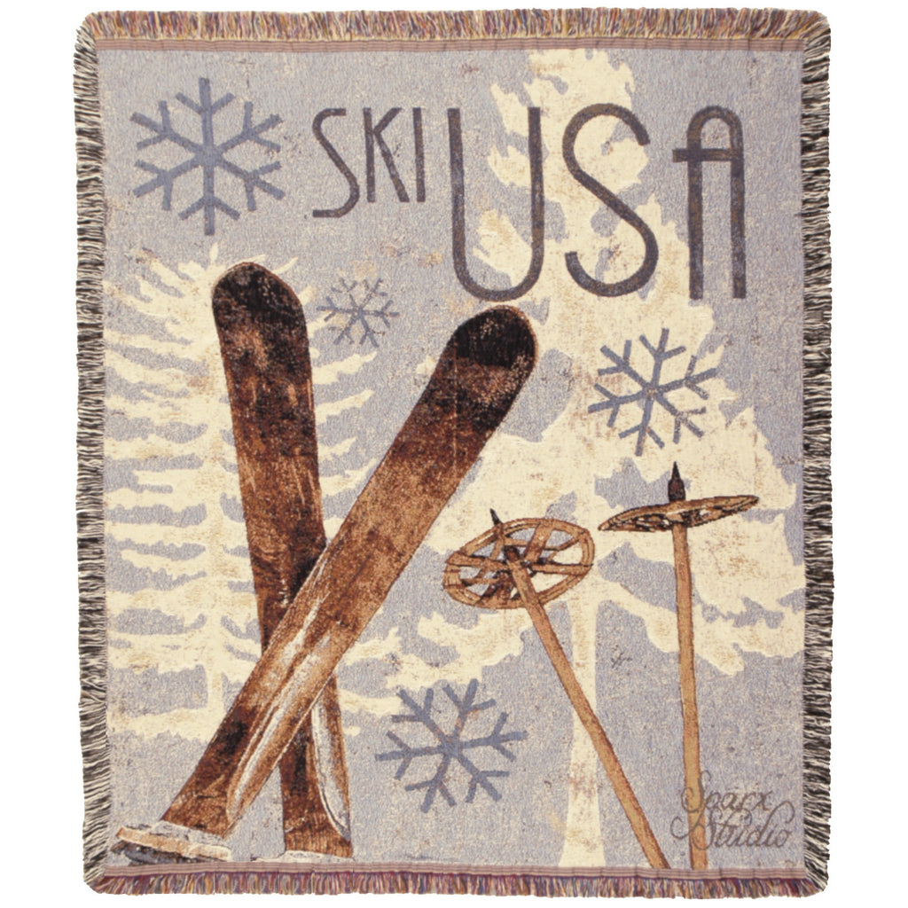 Vintage Ski USA Throw Blanket