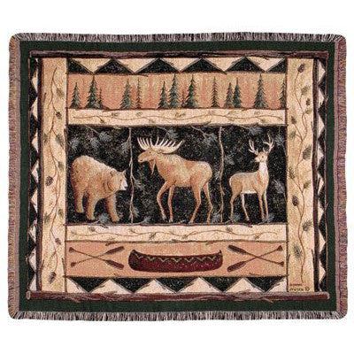 Woodland Animals Woven Throw Blanket