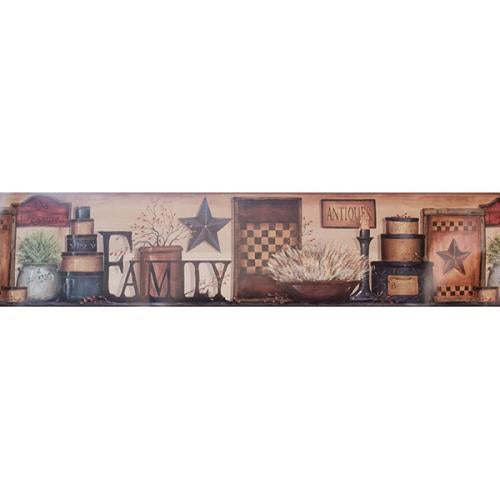 Shaker Boxes and Stars Family Wallpaper Border
