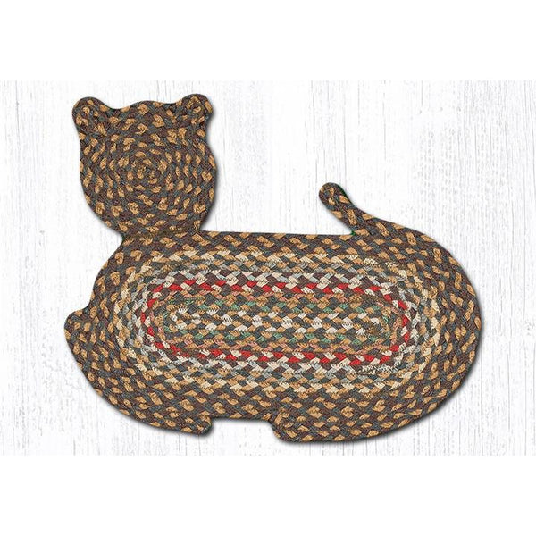 Green and Mustard Cat Shaped Braided Rug