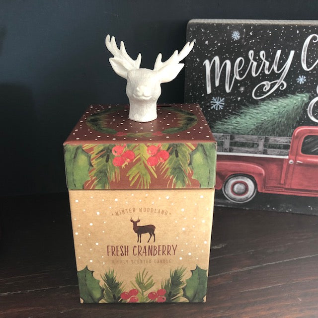 Wild Cranberry Boxed Candle with Reindeer Head