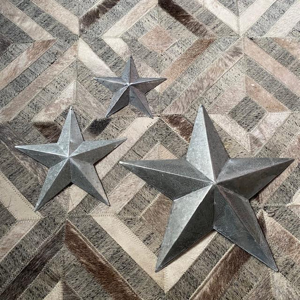 Set of 3 Galvanised Metal Barn Stars