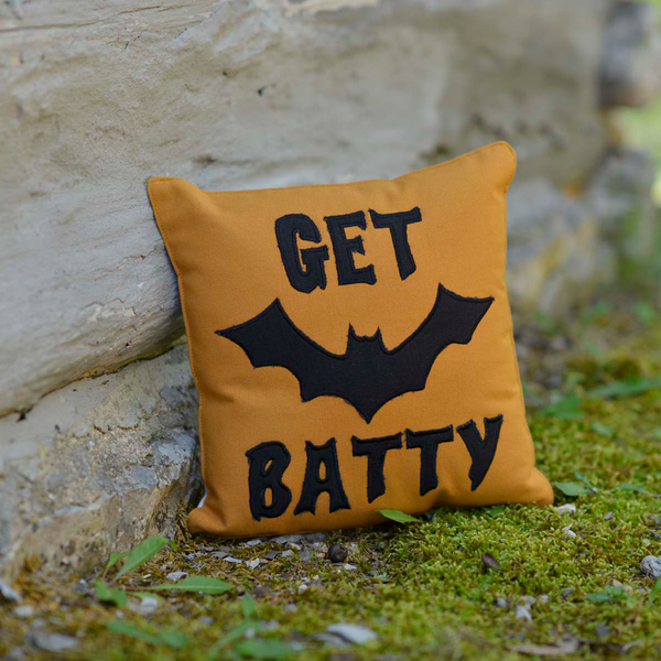 Get Batty Orange Halloween Cushion