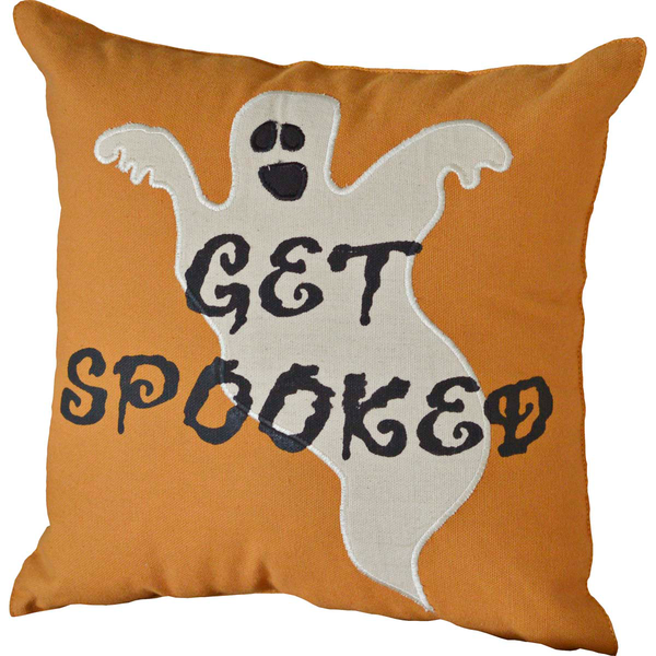 Get Spooked Orange Halloween Cushion with Ghost