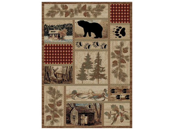 Log Cabin Patchwork Rug UK with Bear and Trees