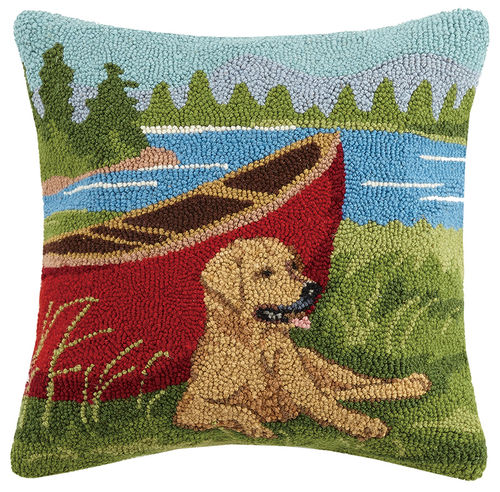 Golden Retriever Hooked Cushion with Red Canoe