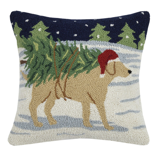 Golden Lab with Tree Hooked Cushion