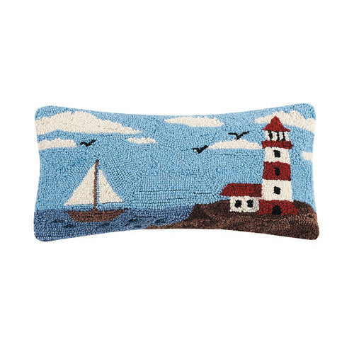 Hooked Oblong Lighthouse Cushion with Velvet Backing