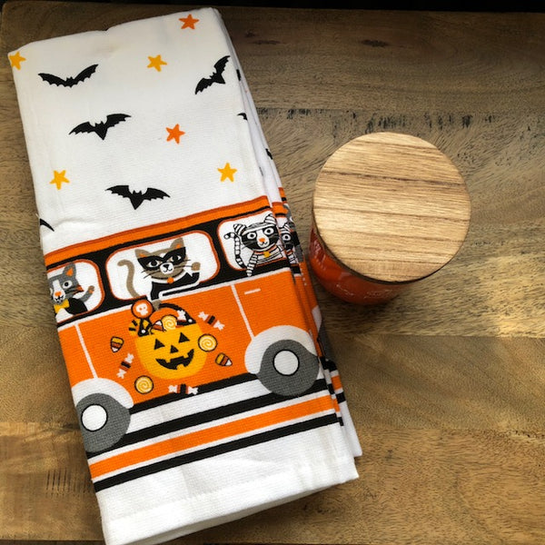 Halloween Bus Towel with Cats and Bats