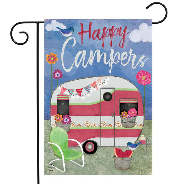 Happy Campers Caravan Garden Flag