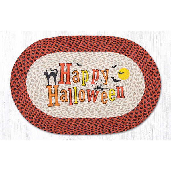 Happy Halloween Braided Jute Rug