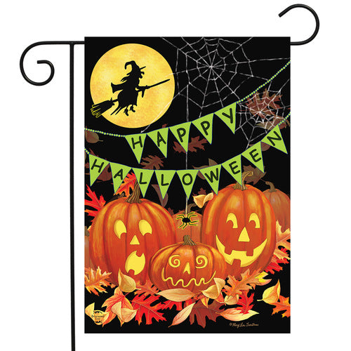Happy Halloween Garden Flag with Pumpkins and Witch